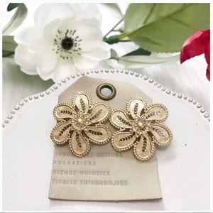 NWT Anthropologie gold gemstone floral motif studs